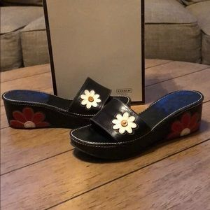 Coach 'Therese calf' slide sandals w/ flower dtl